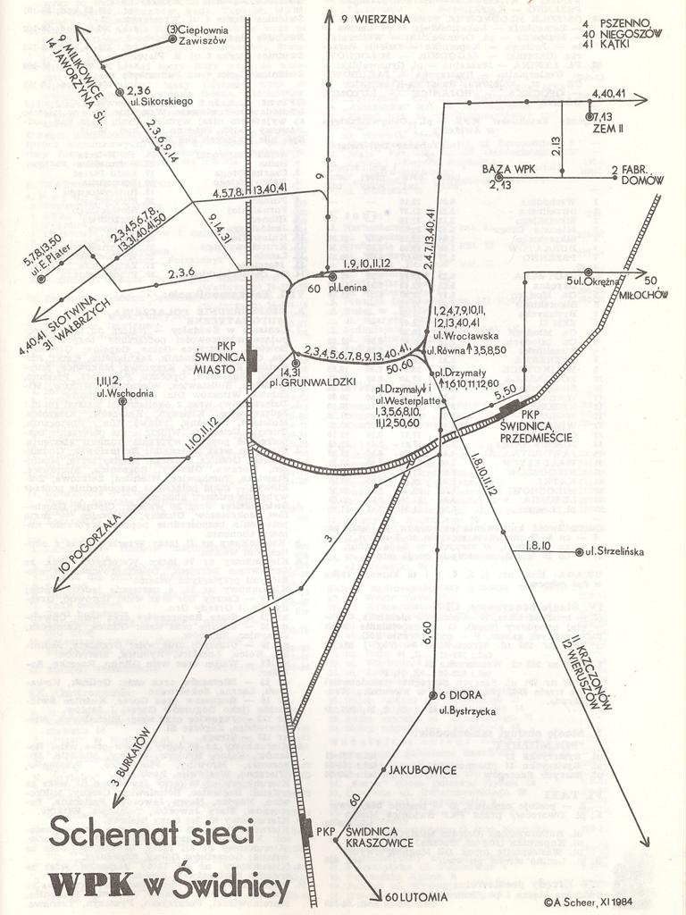 ŚWIDNICKI SCHEMAT KOMUNIKACYJNY 1984-85