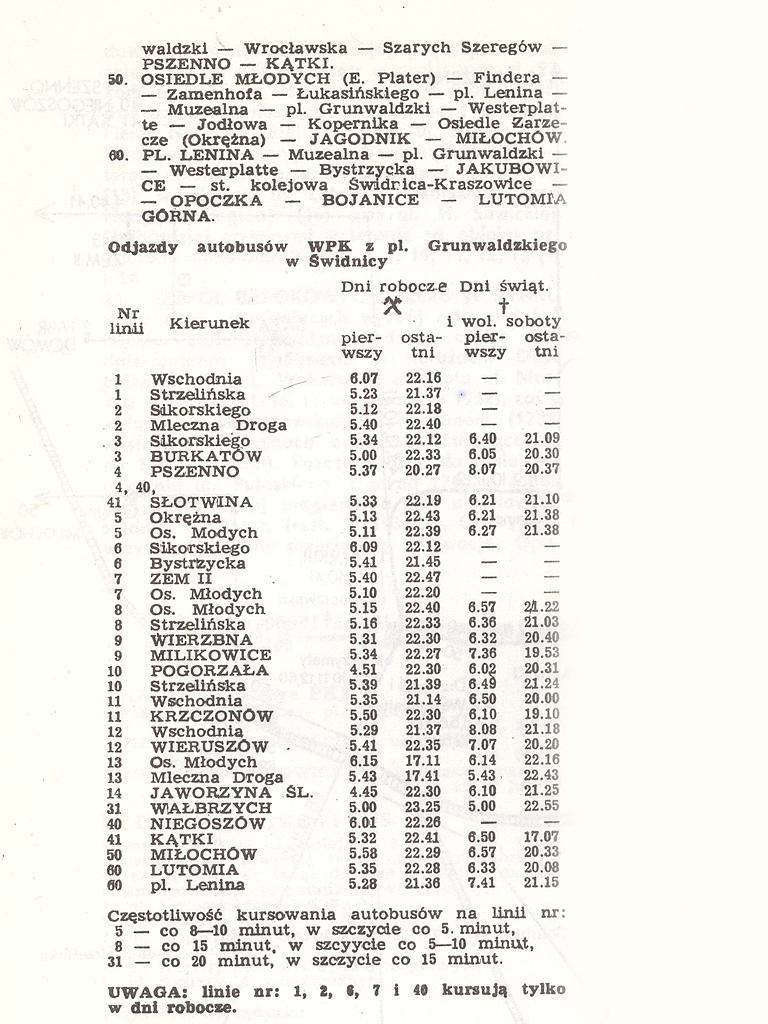 GODZINY ODJAZDÓW ŚWIDNICKICH AUTOBUSÓW 1984-85