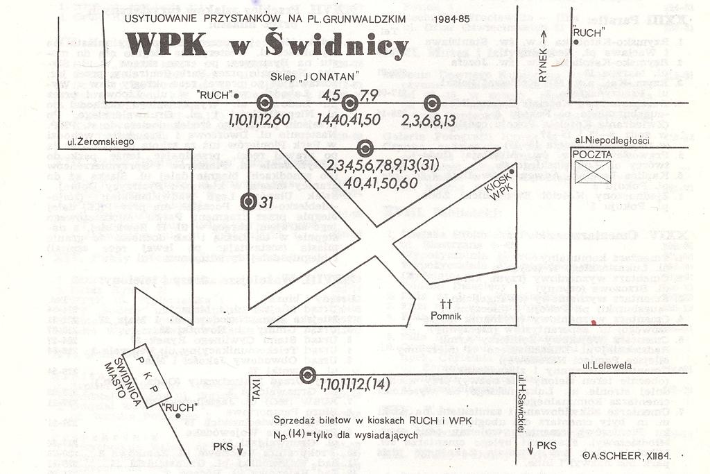 GŁÓWNE PRZYSTANKI AUTOBUSOWE W ŚWIDNICY 1984-85
